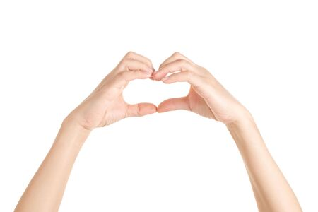 Hands in shape of love heart on white background, Valentine and love concept.