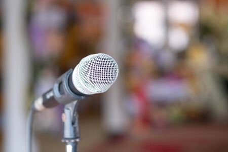 Close up microphone isolated on blur background. Imagens