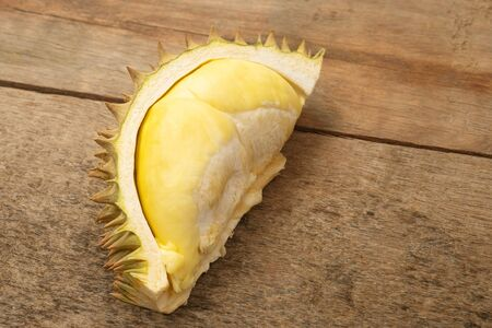 Durian, King of fruits, durian on wooden background.