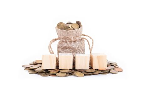 empty wooden blocks on Money bags and coins on white background.Time to invest, time value for money, money saving, finance saving and