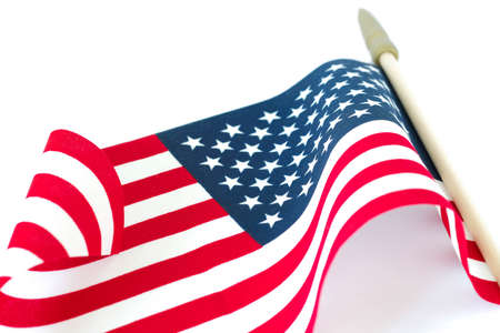 American flag on white background. Memorial Day or 4th of July concept. Stok Fotoğraf