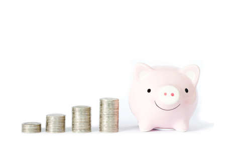 Saving money concept, Piggy bank and coins stacks on white background. Stok Fotoğraf