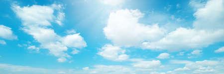 Beautiful blue sky cloudsfor background. Panorama of sky. Stock fotó