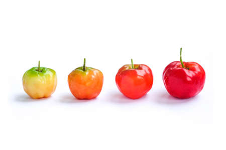 Acerola cherry of thailand, White background, Select focus, Barbados cherry Фото со стока