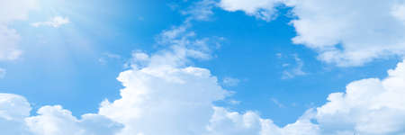 Beautiful blue sky cloudsfor background. Panorama of sky. Фото со стока