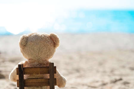 Teddy bear sit on wooden chair with sea view. Love and relationship concept. Beautiful white sandy beach in the summer.