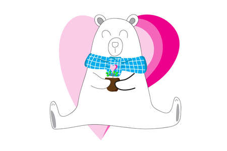 White bear holding a flower pot with hearts on a white background. Valentime Concept.