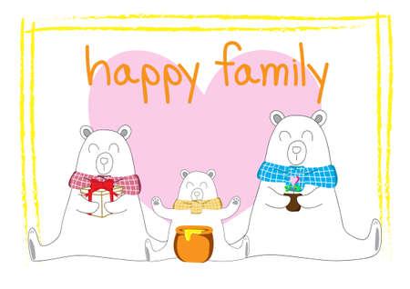 White bear family. Three white bears sitting on a white background Çizim