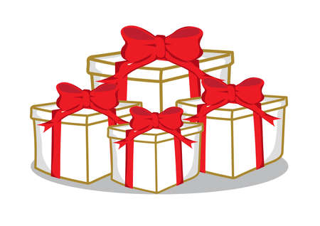 Set of gift boxes on a white background. Stock Illustratie