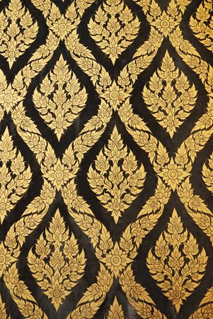 thai art gold painting pattern on door