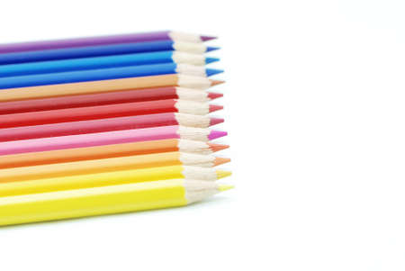 Thirteen colors pencil on white background Stock Photo - 8188290
