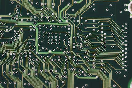 Close up detail green circuit board  photo
