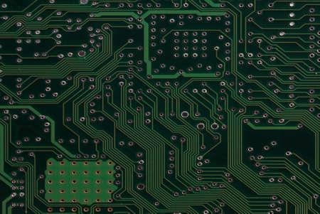 Close up detail green circuit board