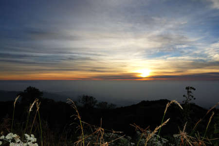 Landscape of sunrise  mountains in Chiangmai,Thailand photo