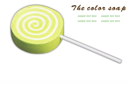 The candy color soap on white background