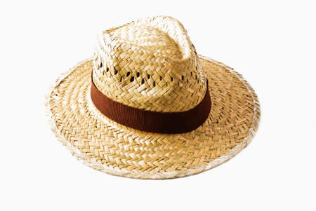 straw cowboy hat isolated on white photo