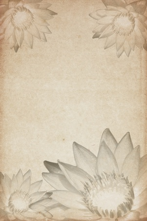 Old sheet of paper with flowers on background