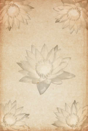 Old sheet of paper with flowers on background photo