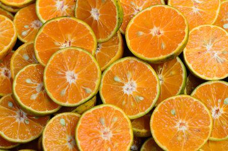 Fresh orange fruits slices background Stock Photo - 11773630