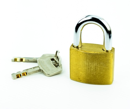 Lock and key isolated  white background Stock Photo - 12304957