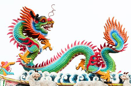 Chinese style dragon statue temple photo