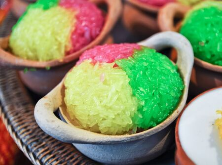 Sticky rice ,Traditional Thai dessert  photo