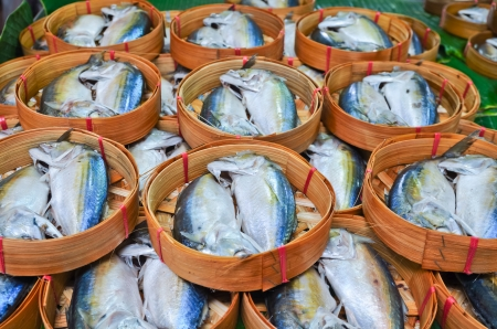 Fresh mackerel in basket in market, Thailand Stock Photo