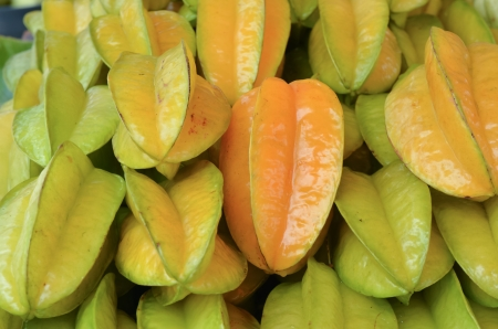 pile of tropical fruit or Carambola fruit was managed    photo