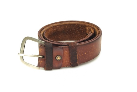 Men s leather belt on white background Stock Photo - 15933197
