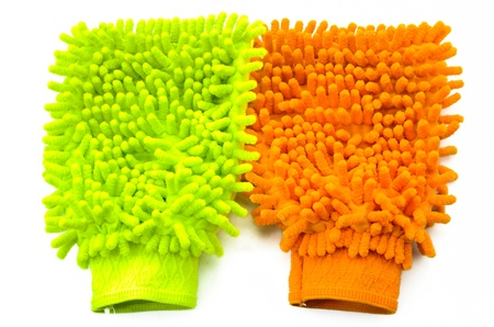 Glove colorful microfiber cleaning , on white background Stock Photo - 18233787
