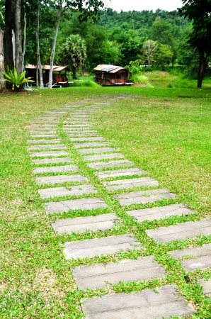 Stone walkway and the garden home Stock Photo - 19242587
