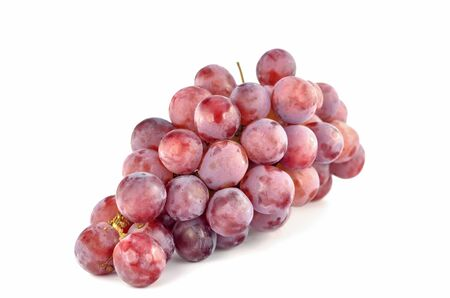 Bunch red grapes isolated on white  Stock Photo - 21896612
