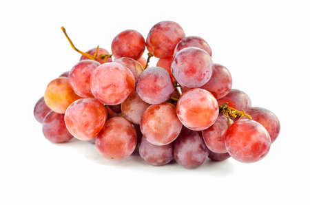 Bunch red grapes isolated on white  Stock Photo - 21896615