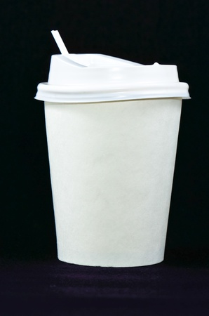 Paper cup of  disposable coffee cups with plastic lid  Isolated on a white Stock Photo