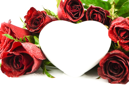 Red roses with white heart photo