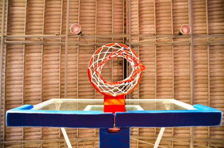 Closeup of basketball hoop