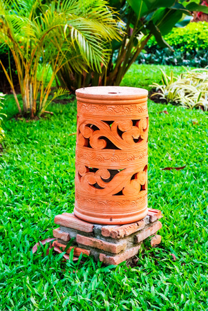 An Asian style pottery lamp for garden Stock Photo