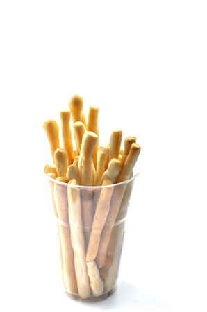 crispy bread sticks on white background