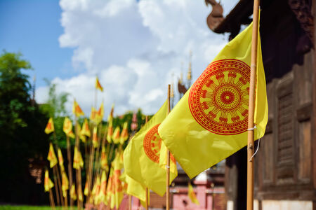 Flags of Dhammajak, symbol of Buddhism, Thailand Stock Photo