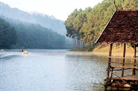 Pang Ung. Beautiful forest lake in the morning. Mae Hong Son. Thailand photo