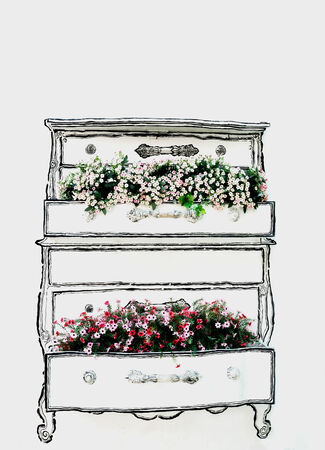 flowerpots: Decorative flowerpots on concrete wall