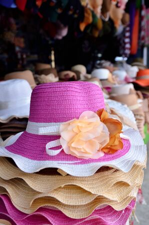Many Hats of all colors for summerColorful Female fashion hats