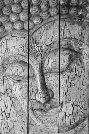 Traditional Thai style Lord Buddhas face Stock Photo