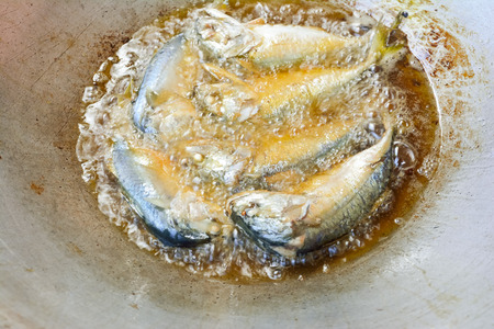 Closeup frying short-bodied mackerel fish in pan with vegetable oil