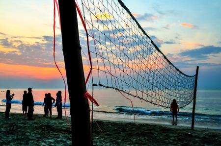 beach volleyball silhouette Stock Photo