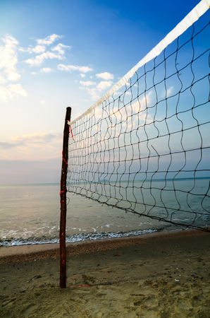 Volleyball Net on Beach Stock Photo