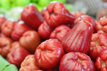 Rose Apples in the market, Tropical Fruits of Thailand Stock Photo