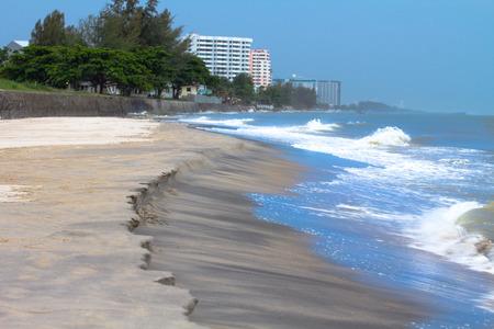 The Hua Hin beach at high tide low season in Thailand
