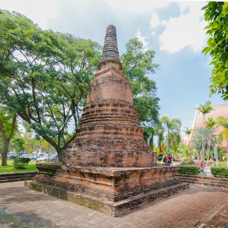 Stupa of Old Temple Architecture , Wat Yai Chai Mongkol at Ayutthaya, Thailand, World Heritage Site