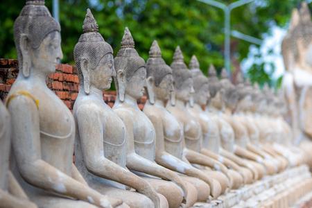 Aligned Sitting Buddha Statues and Buddha Status at Wat Yai Chaimongkol, Ayutthaya, Thailand